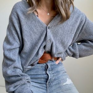 Vintage Oversized Slouchy Button Up Sweater